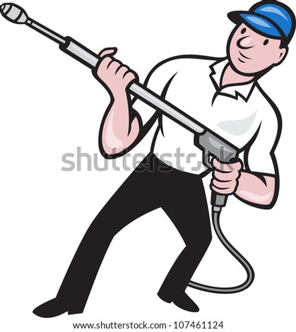 Illustration of a worker with water blaster pressure power washing sprayer spraying set inside circle done in cartoon style. - stock photo