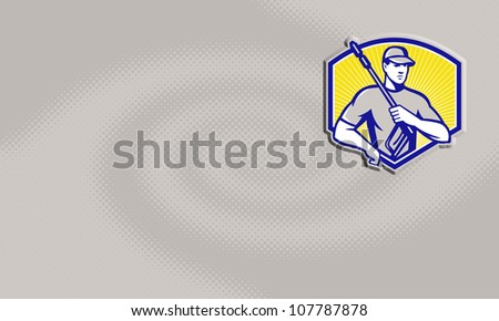 Illustration of a worker with water blaster pressure power washing sprayer spraying set inside circle done in retro style. - stock photo