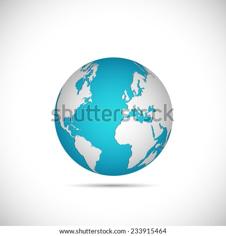 Illustration of a world globe isolated on a white background.