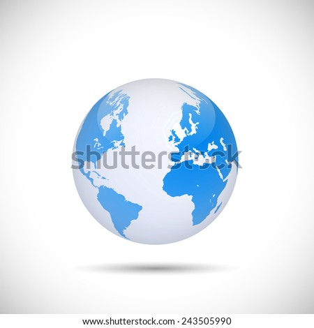 Illustration of a world globe isolated on a white background. - stock photo
