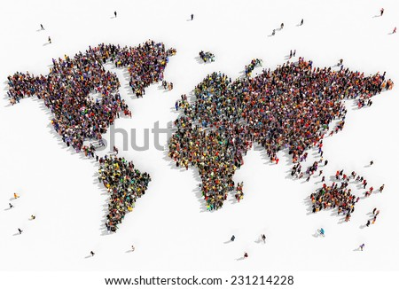 Illustration of a world map drawn out with realistic people seen from above on white background - stock photo