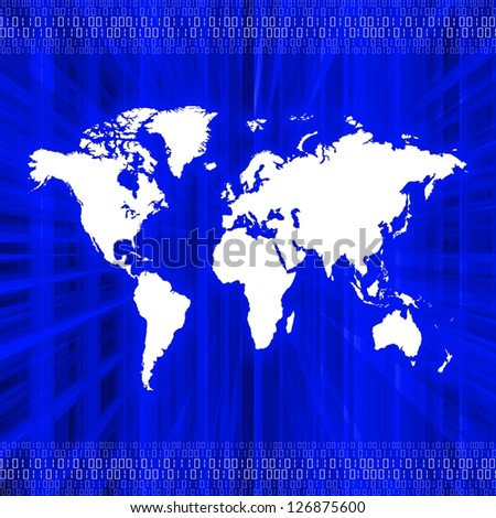 Illustration of a world map over an abstract blue background with binary numbers