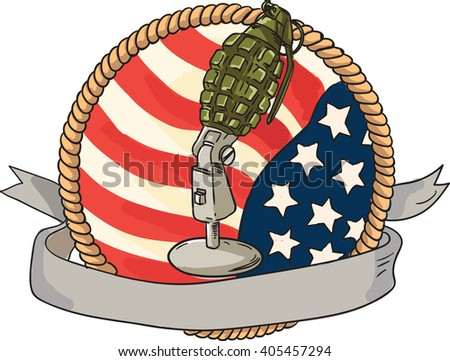 Illustration of a world war two grenade mounted on a vintage microphone stand with USA stars and stripes flag in the background with ribbon scroll banner in front set inside rope circle retro style.