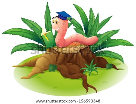 Illustration of a worm reading at the top of a stump on a white background - stock photo