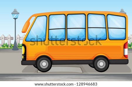 Illustration of a yellow bus on the road
