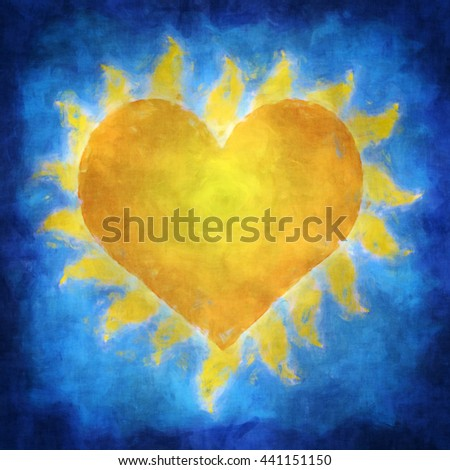 Illustration of a yellow heart which is a sun in blue sky - stock photo