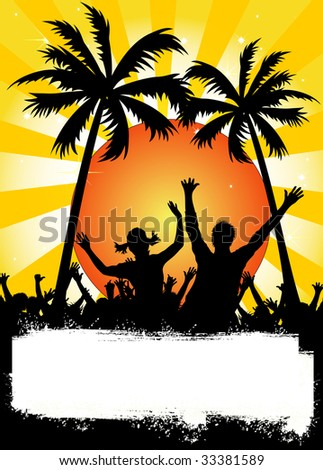 illustration of a yellow party placard with palms
