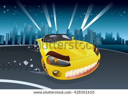 illustration of a yellow sport car drifting on city background - stock photo