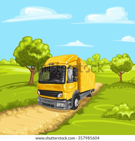 Illustration of a yellow truck with rural spring landscape - stock photo
