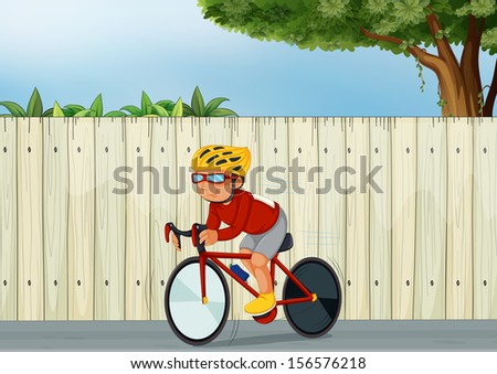 Illustration of a young boy biking  - stock photo