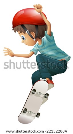 Illustration of a young gentleman skateboarding on a white background