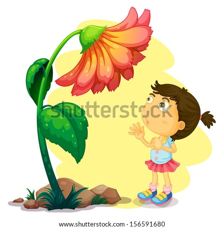 Illustration of a young girl below the giant flower on a white background