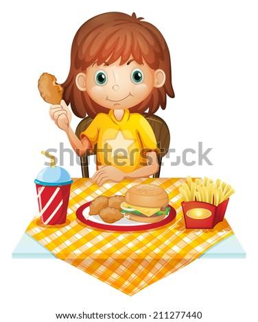 Illustration of a young girl eating at the fastfood restaurant on a white background - stock photo