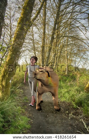 Illustration of a young girl walking her giant dog along a woodland train at Fort Clatsop National Park in Lewis and Clark Oregon