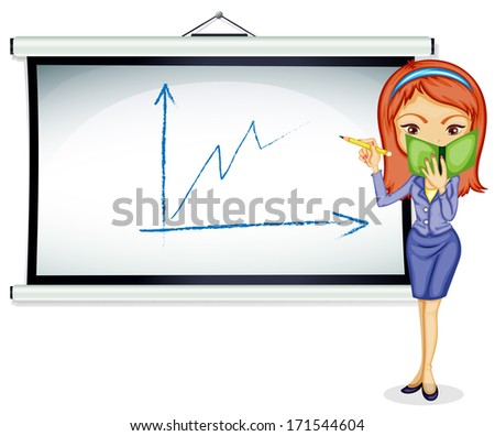 Illustration of a young lady explaining a chart on a white background - stock photo
