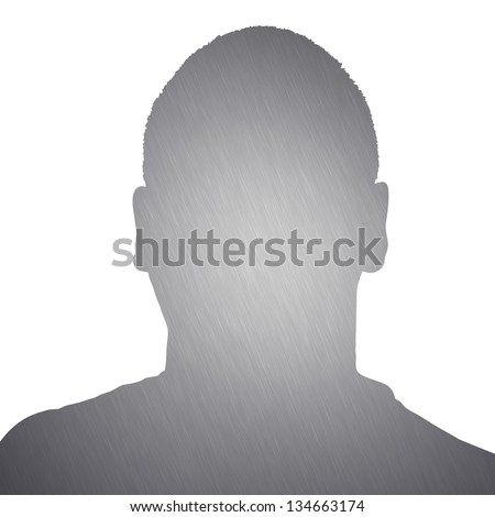 Illustration of a young man with brushed aluminum texture isolated over a white background. - stock photo