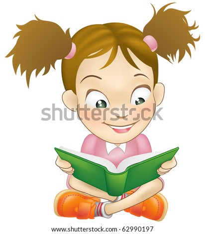 Illustration of a young sweet girl child happily reading a book - stock photo