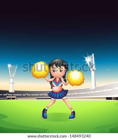 Illustration of a young woman dancing at the soccer field - stock photo