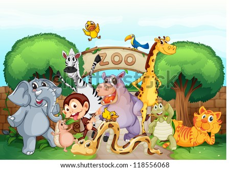 illustration of a zoo and the animals in a beautiful nature - stock photo
