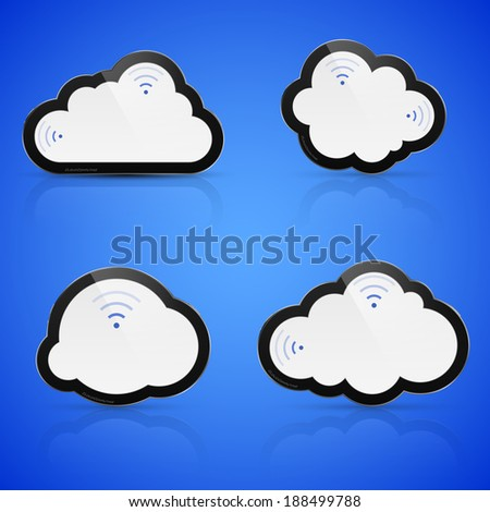 Illustration of abstract clouds on blue background. Cloud computing concept. - stock photo