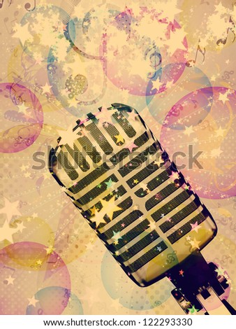 Illustration of abstract colorful funky musical background with retro microphone.