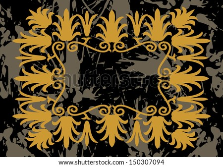 Illustration of abstract golden frame with background - stock photo