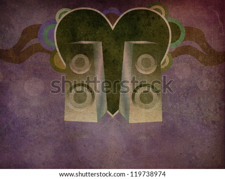Illustration of abstract grunge music background with speakers. - stock photo