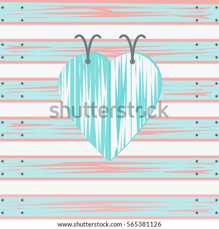 Illustration of abstract heart shape in an aqua color./ Blue Heart