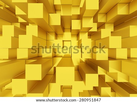 Illustration of abstract mosaic three-dimensional yellow background