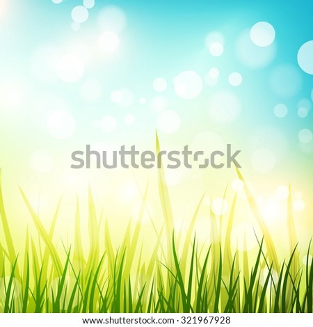 Illustration of Abstract Natural Spring or Summer Sunny Background , Copyspace - stock photo