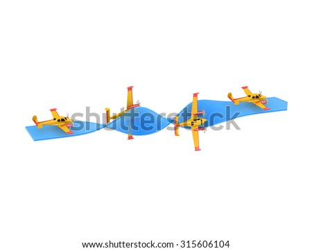 Illustration of aerobatics barrel roll with yellow airplane model over blue arrow on white background - stock photo