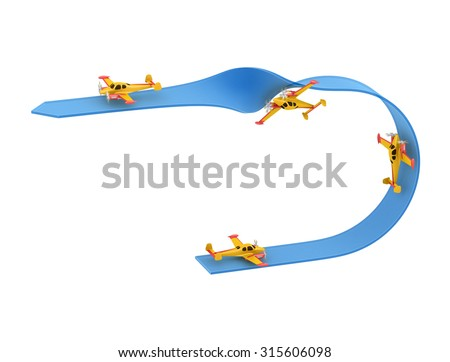 Illustration of aerobatics half loop with yellow airplane model over blue arrow on white background - stock photo