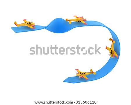 Illustration of aerobatics single overturn with yellow airplane model over blue arrow on white background - stock photo