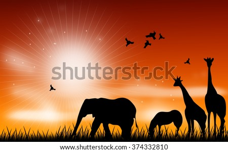 Illustration of african animals on grass with sunset sky - stock photo