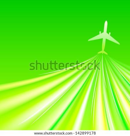 Illustration of airplane around the green.  illustration - stock photo
