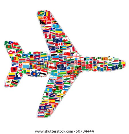 Illustration of airplane made from World flags - stock photo