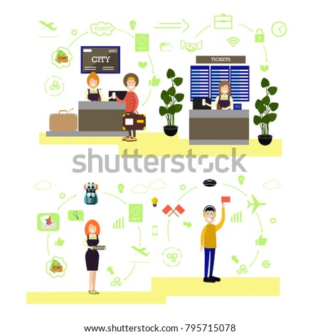 Illustration of airport ticket counter, ramp agent and passengers. Airport people symbols, icons isolated on white background. Flat style design.