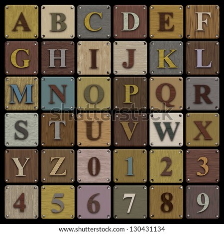 Illustration of alphabet and numbers on wooden tiles with screws at the edges - stock photo