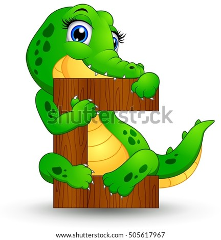 illustration of  Alphabet C with Crocodile cartoon