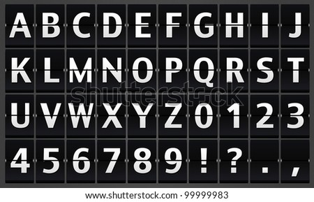 Illustration of Alphabet flipping panel on the black background