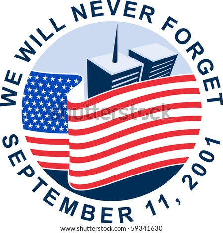 illustration of am unfurled american flag  with world trade center twin tower building in the  background. - stock photo