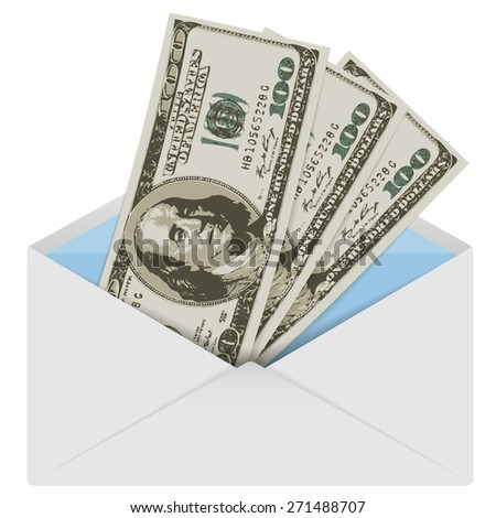 Illustration of American dollars in an envelope.
