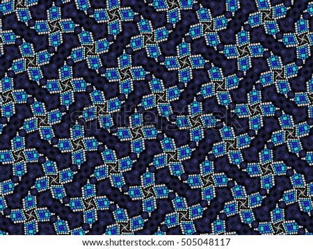 Illustration of an abstract blue and white mosaic on dark background
