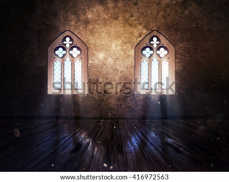Illustration Of An Abstract Grunge Interior With Gothic Window 3d Not Render