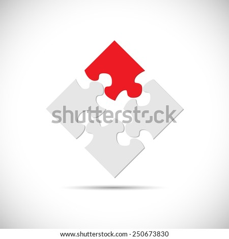 Illustration of an abstract puzzle design isolated on a white background. - stock photo