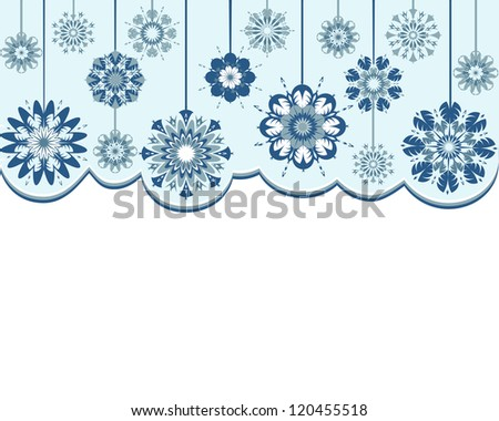 illustration of an abstract snowflakes background - stock photo
