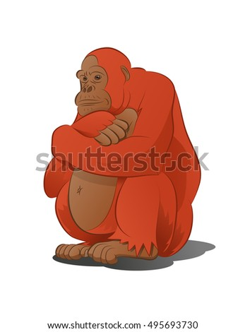 illustration of an adorable big monkey thinking in isolated white background