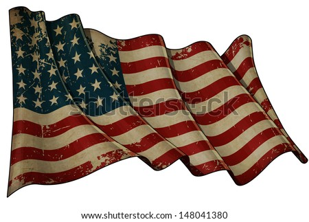 Illustration of an aged, waving US 48 star flag of the period 1912-1959. This design was used by the US in both World Wars and the Korean war. - stock photo