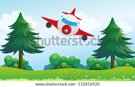 Illustration of an airplane above the hills - stock photo