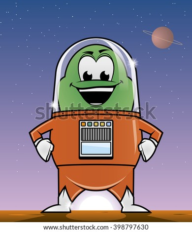 Illustration of an alien in a planet - stock photo